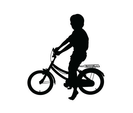 Silhouette of Children Playing Bicycles, art vector design Stock Illustratie