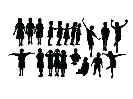Activities for Children Playing Together, art vector silhouette design