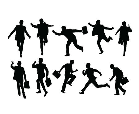 Busy Businessman Activity Silhouettes, art vector design