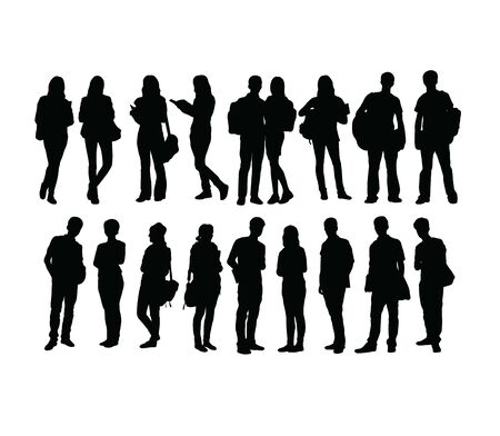 Student Activity Silhouettes, art vector design Stock Illustratie