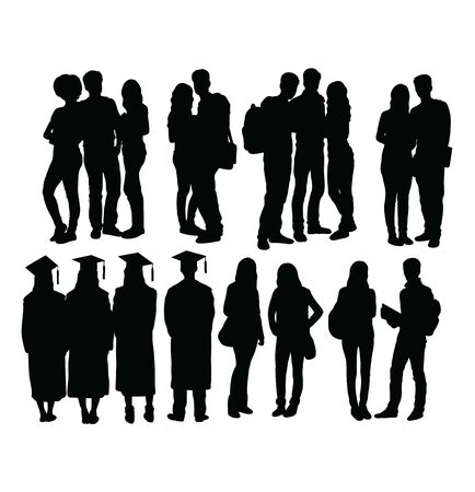 Student Activity and graduation Silhouettes, art vector design Stock Illustratie