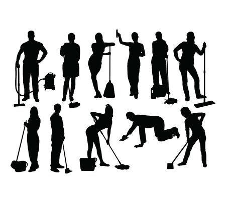 Cleaning Service Silhouettes, art vector design Иллюстрация