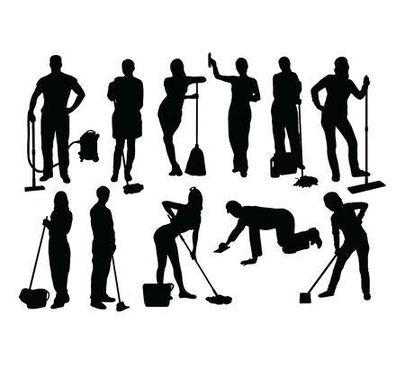 Service de nettoyage Silhouettes, conception de vecteur d'art Vecteurs