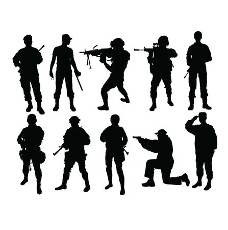 Army Force Silhouettes, art vector design