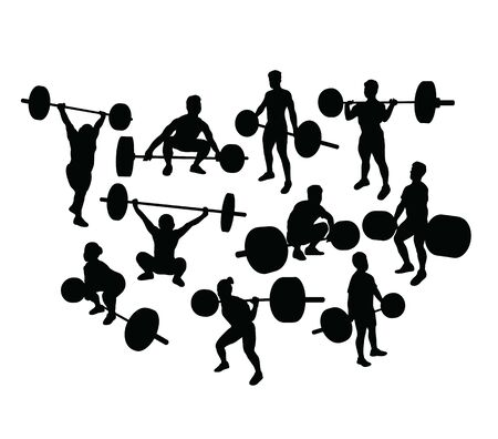 Weightlifter Silhouettes, art vector design 스톡 콘텐츠 - 138903551