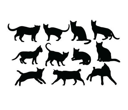 Cat Silhouettes, art vector design 스톡 콘텐츠 - 139894380