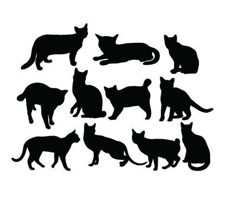 Cat Silhouettes, art vector design 일러스트