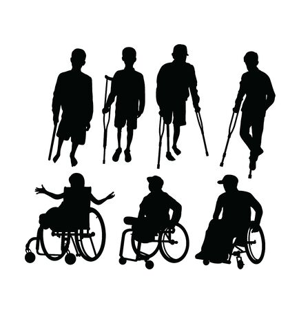 Disabled People Silhouettes, art vector design