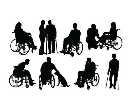 Disabled People Silhouettes, art vector design 스톡 콘텐츠 - 139823440