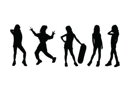 Happy Kid Hip Hop Silhouettes, art vector design 스톡 콘텐츠 - 140513859