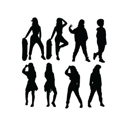 Happy Kid Hip Hop Silhouettes, art vector design