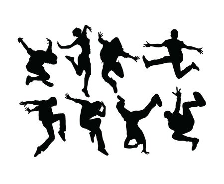 Hip Hop and Dance People Silhouettes, art vector design 일러스트