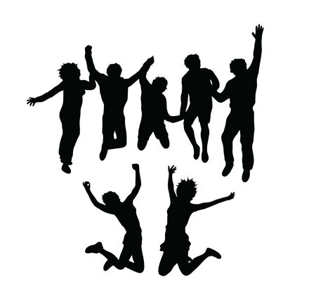 Happy Jumping Silhouettes, art vector design