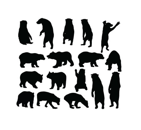 Wild Bear Silhouettes, art vector design