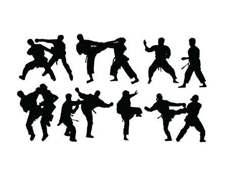 Taekwondo et silhouettes de karaté, conception de vecteur d'art
