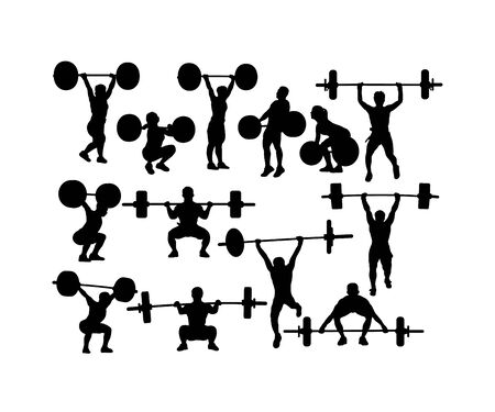 Weightlifting and Bodybuilding Silhouettes, art vector design