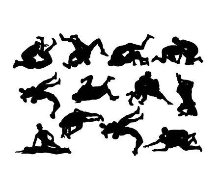 wrestlers vector silhouettes, art vector design