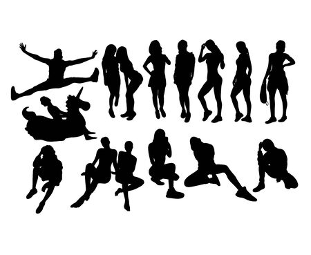 People Activity Silhouettes, art vector design 向量圖像