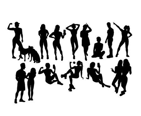 People Activity Silhouettes, art vector design 向量圖像