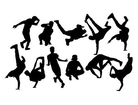 Hip Hop and Dance People Silhouettes, art vector design Vektoros illusztráció
