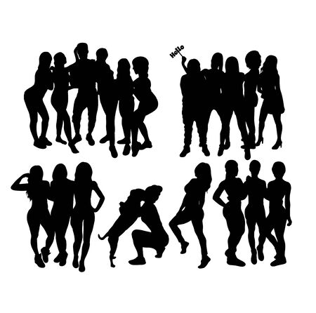 People Activity Silhouettes, art vector design Illusztráció
