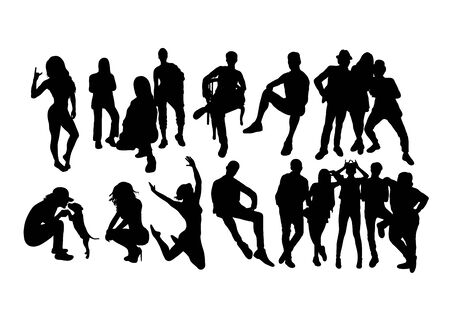 People Activity Silhouettes, art vector design Иллюстрация