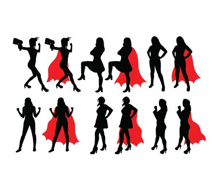 Strong Lady Activity Silhouettes, art vector design  イラスト・ベクター素材