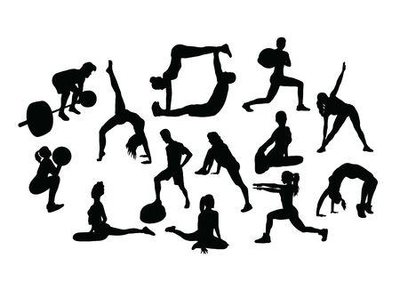 Yoga Activity Silhouettes, art vector design