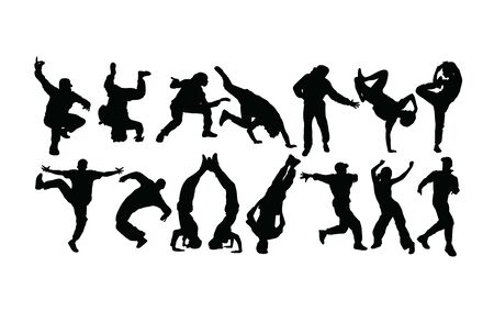 Modern Dancer Silhouettes, Hip Hop And breakdance, art vector design