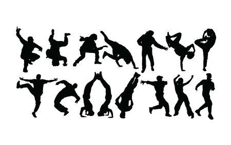 Modern Dancer Silhouettes, Hip Hop And breakdance, art vector design