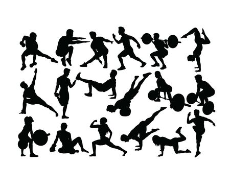 Gymnastics, Weight Lifting and Fitness, art vector silhouettes design Vettoriali
