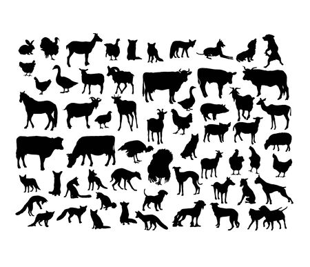 Animal Activity Silhouettes, art vector design Vettoriali