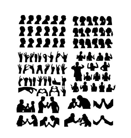 Avatar and Hand Gesture Sign Silhouettes, art vector design