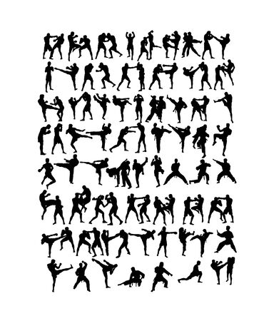 Martial Art Set Silhouette, art vector design