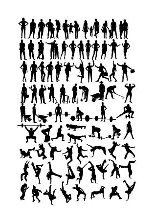 Work and Sport Activity Silhouettes, art vector design