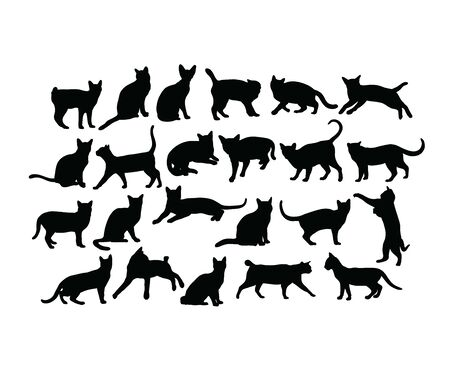 Cat Activity Silhouettes, art vector design