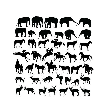 Deer, Horse and Elephant Silhouettes, art vector design