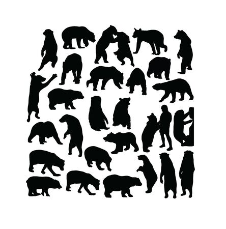 Wild Bear Animal Activity Silhouettes, art vector design