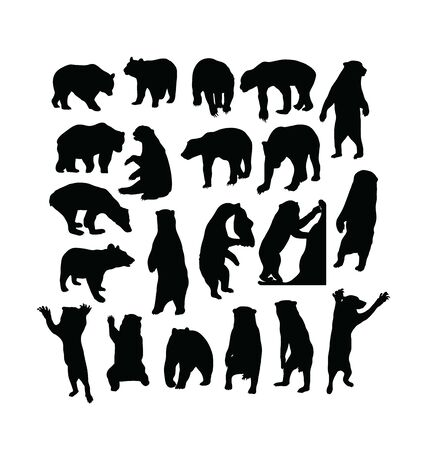 Wild Bear Activity Silhouettes, art vector design