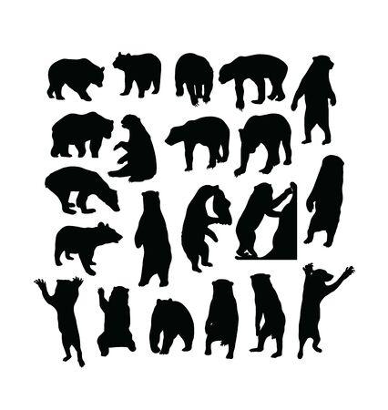 Wild Bear Activity Silhouettes, art vector design