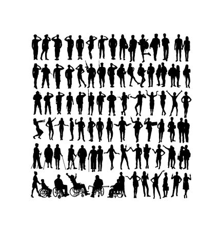 Soldier And Activity People Silhouettes, art vector design
