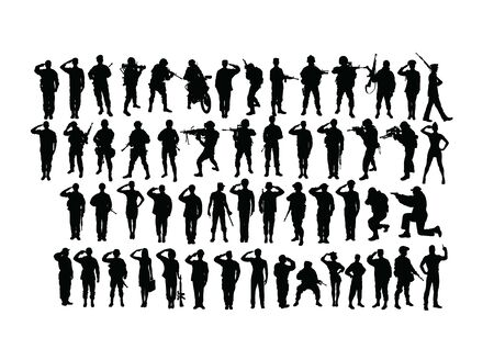 Saluting Soldier and Army Force Silhouettes, art vector design