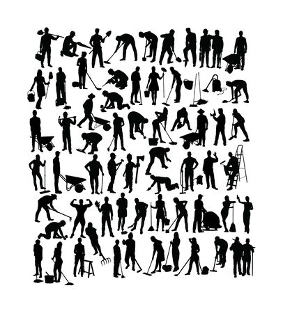 People Working Activity Silhouettes, art vector design