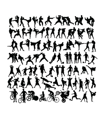 Sport Activity Silhouettes, martial art, football, gym fitness and cycling, art vector design
