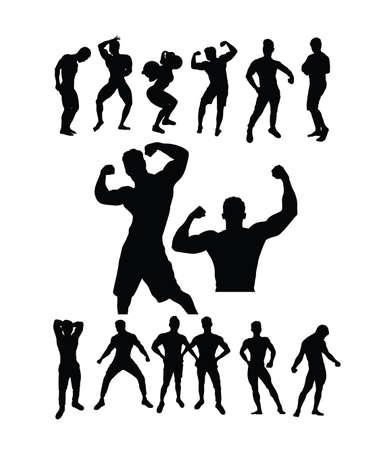 Bodybuilding Sport Silhouettes, art vector design