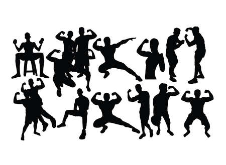 Bodybuilding Sports Activity Silhouettes, art vector design