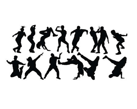 Modern Dancing, Hip Hop and Dance People Silhouettes, art vector design Çizim