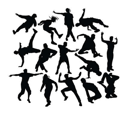 Hip Hop and Dance People Silhouettes, art vector design Çizim