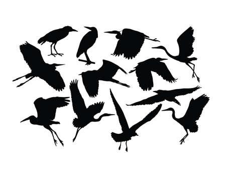 Stork Bird Silhouettes, art vector design