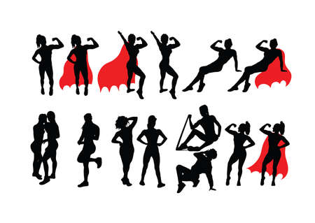 Woman Activity Silhouettes, art vector design Stock Illustratie